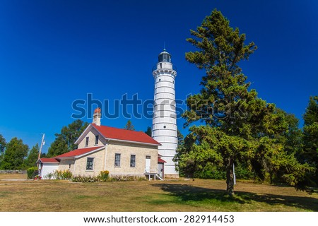 Cana Island Lighthouse in Door County, Wisconsin - stock photo