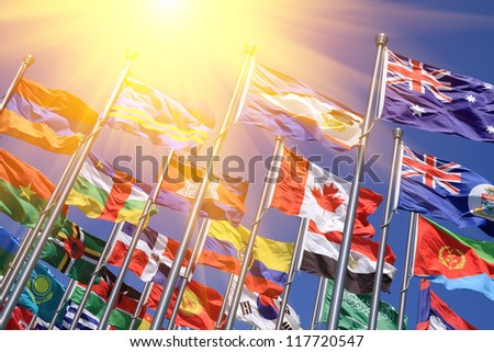 Canada and British Commonwealth  and world national flags  is flying - stock photo
