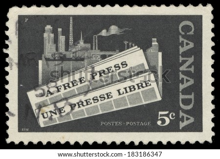 CANADA - CIRCA 1957: A stamp printed by Canada, shows a free press, circa 1957 - stock photo