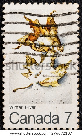 CANADA - CIRCA 1981: a stamp printed in Canada shows two dead maple leafs compost into soil during winter on a 7 cent Canadian stamp, circa 1981 - stock photo