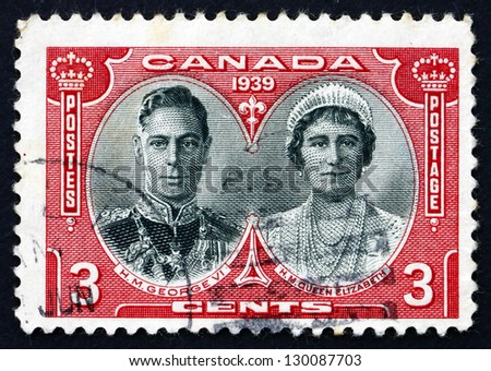 CANADA - CIRCA 1939: a stamp printed in the Canada shows King George VI and Queen Elizabeth, Visit to Canada and the US, circa 1939 - stock photo