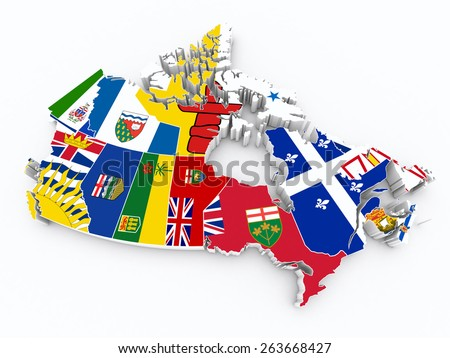 Canada 3d map with provinces flags - stock photo