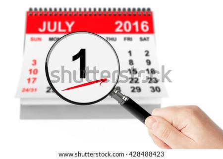 Canada Day Concept. 1 July 2016 calendar with magnifier on a white background - stock photo