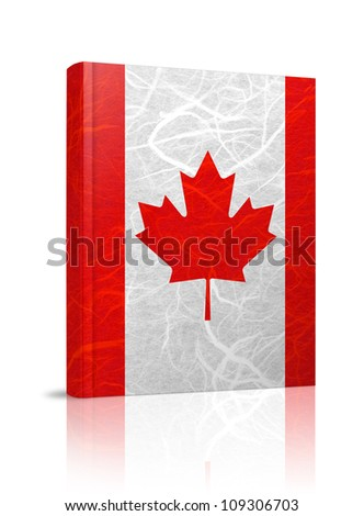 Canada flag book. Mulberry paper on white background. - stock photo