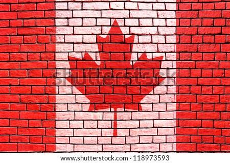 Canada flag brick wall background - stock photo