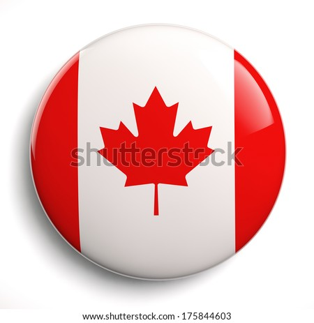 Canada flag icon. Clipping path included. - stock photo