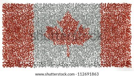 Canada flag of precious stones diamont , ruby - stock photo