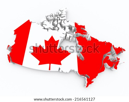 Canada flag on 3d map - stock photo