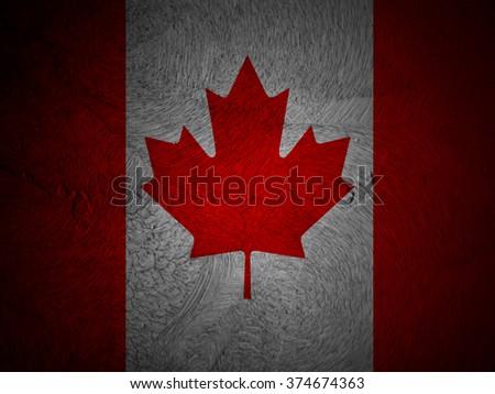 Canada Flag on grunge background - stock photo