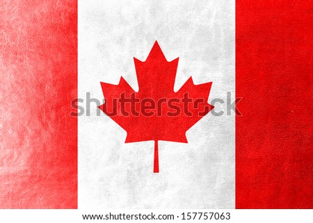 Canada Flag painted on leather texture - stock photo