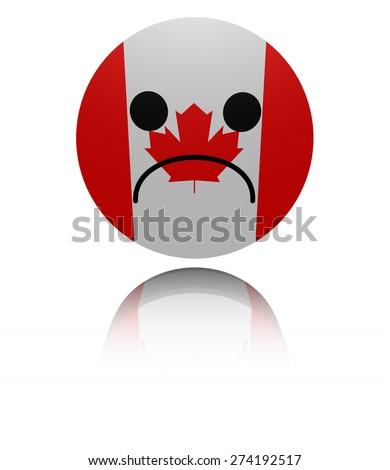 Canada flag sad icon with reflection illustration - stock photo