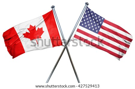 Canada flag with american flag, isolated on white background - stock photo
