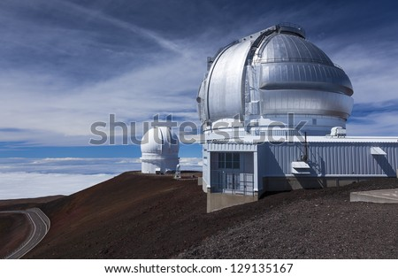 Canada-France-Hawaii Telescope and Gemini Telescope, Mauna Kea, Hawaii - stock photo