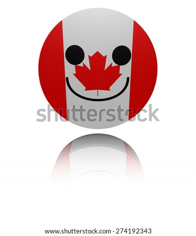 Canada happy icon with reflection illustration - stock photo