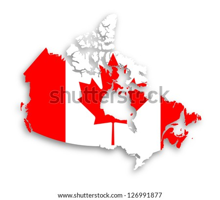 Canada map with the flag inside, isolated - stock photo