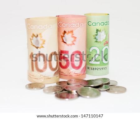 Canada money money on the white background. - stock photo