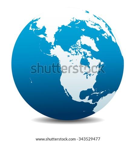 Canada, North America, Siberia and Japan Global World - Raster Version - stock photo