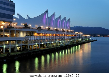 Canada Place at twilight, Vancouver, Canada - stock photo