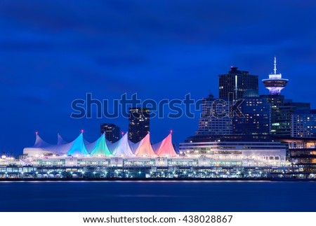 Canada Place Night Sails. Downtown Vancouver and the convention center at twilight. Vancouver, British Columbia, Canada.                                 - stock photo