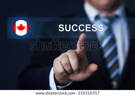 Canada success concept. Man pressing virtual button with flag icon - stock photo
