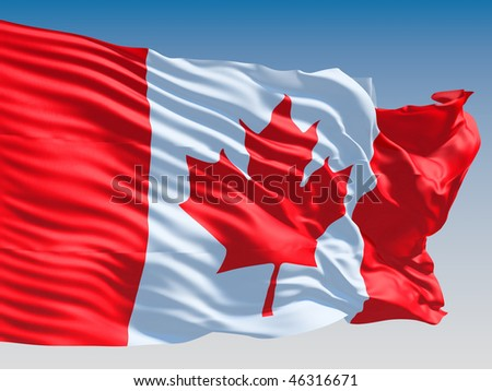 Canadian flag flying on clear sky background. - stock photo