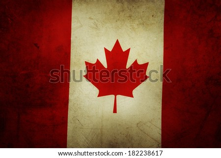 Canadian flag. Grunge effect - stock photo
