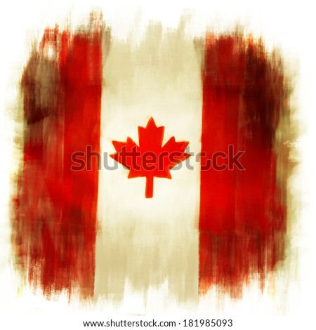 Canadian flag grunge painted effect - stock photo