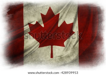 Canadian flag grunge painted effect on  white background - stock photo