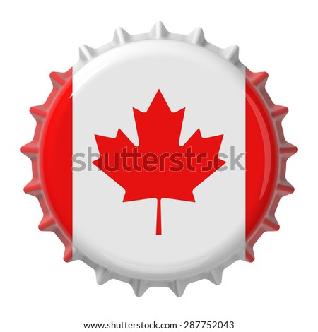 Canadian flag on bottle cap. 3D rendering - stock photo
