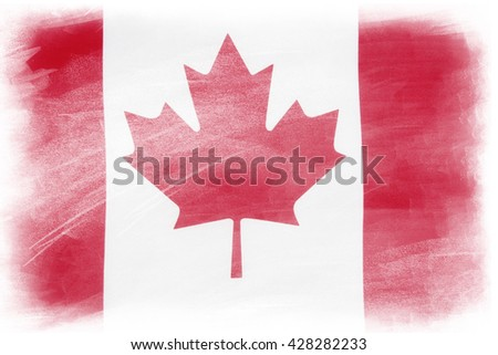 Canadian flag on plain background - stock photo