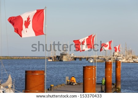 Canadian Flags, Steveston Harbor, BC. Canadian flags flap in a stiff breeze in Steveston Harbor. British Columbia, Canada.  - stock photo