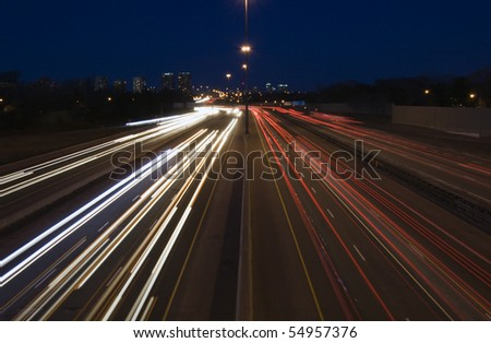 Canadian Highway at night, long exposure - stock photo