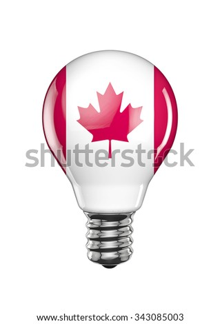 Canadian light bulb / 3D render of light bulb with Canadian flag - stock photo
