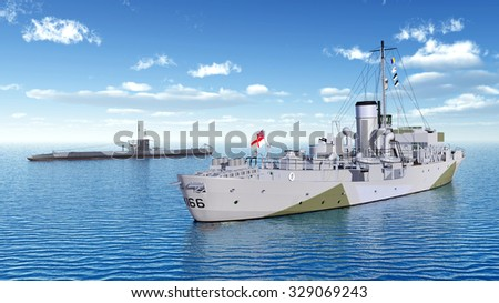 Canadian military ship and German submarine of World War II Computer generated 3D illustration - stock photo