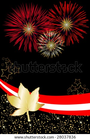 Canadian pride is illustrated in this event poster. Great for Canada Day fireworks invitations. - stock photo