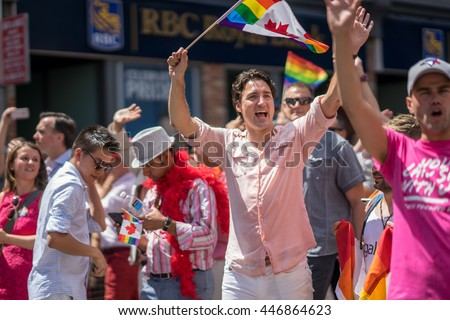 Canadian Prime Minister Justin Trudeau attends annual Pride Parade in Toronto, Ontario, Canada on July 3, 2016 - stock photo