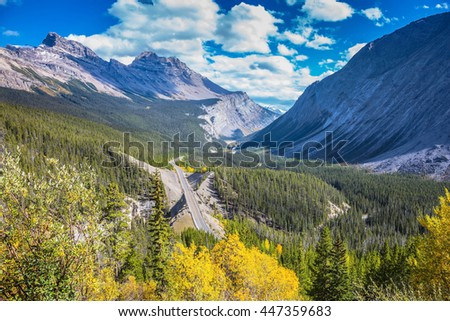 Canadian Rockies, Banff National Park. Scenic magnificent canyon on sunny autumn day. Canyoning excellent highway passes - stock photo
