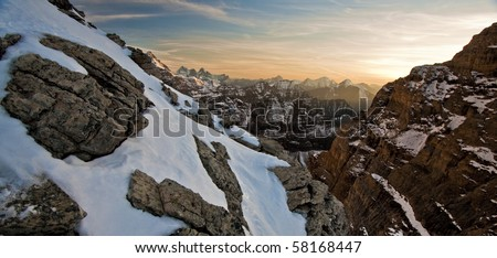 Canadian Rockies from the High Alpine at Sunset - stock photo