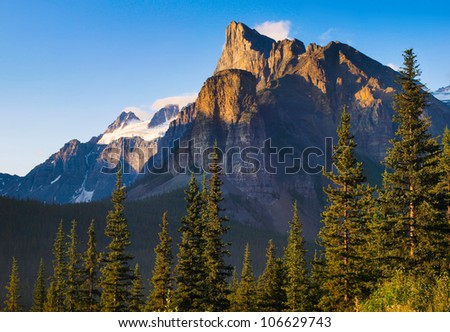 Canadian wilderness with Rocky Mountains at sunset as seen in Banff National Park, Alberta, Canada - stock photo