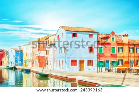 Canal and street view in Burano, Italy. - stock photo