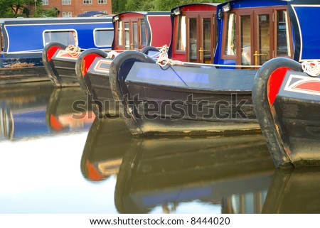 Canal boats at Etruria, Stoke-on-Trent - stock photo