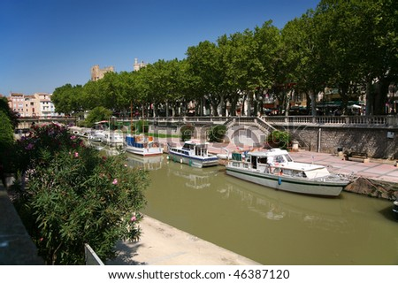 Canal du Midi in the centre of Narbonne - stock photo