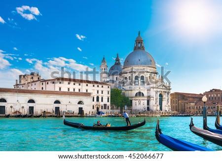 Canal Grande and Basilica di Santa Maria della Salute, Venice - stock photo