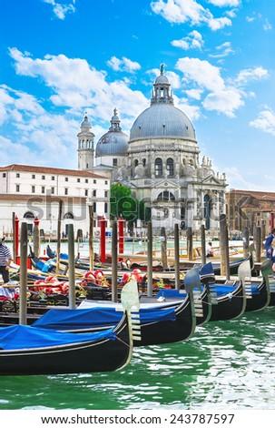 Canal Grande and Basilica di Santa Maria della Salute, Venice. Italy - stock photo