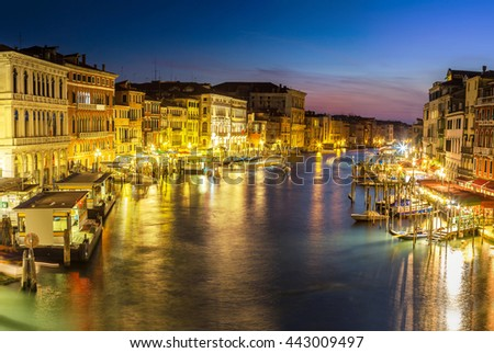 Canal Grande in a summer night in Venice, Italy - stock photo