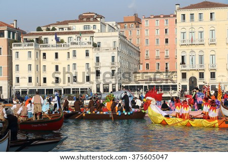 Canal Grande or Gran Canal Carnival parade  on January 24, 2016 in Venice, Italy  - stock photo