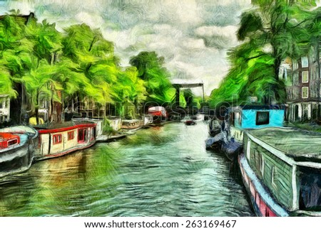Canal in Amsterdam with house boats oil painting - stock photo
