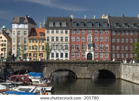 Canal in central Copenhagen - stock photo