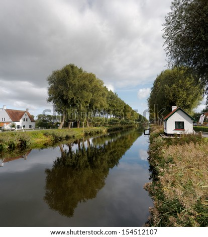 Canal in Dame, near Bruges, Belgium  - stock photo