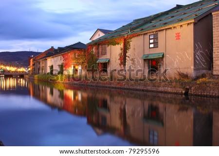 Canal in Magic moment, Hokkaido, Japan - stock photo